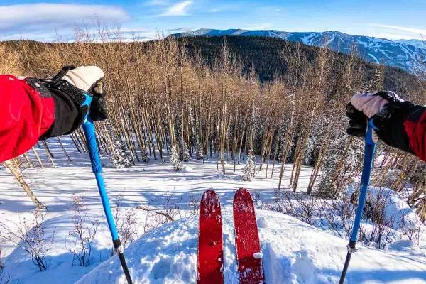 Skier preparing to go downhill
